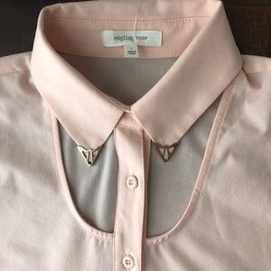English Rose Cut Out Button Down Top